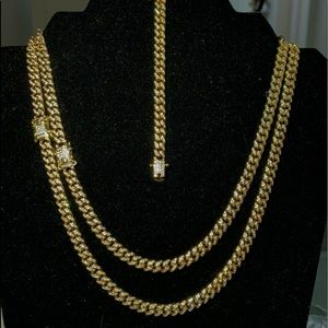 Iced Out Miami Cuban Link Set 925 Sterling Silver